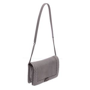Chanel Bags - Chanel Gray Leather Boy Reverso Small Flap Bag